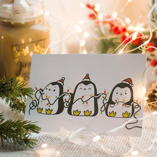 Открытка Пингвинчики с гирляндой