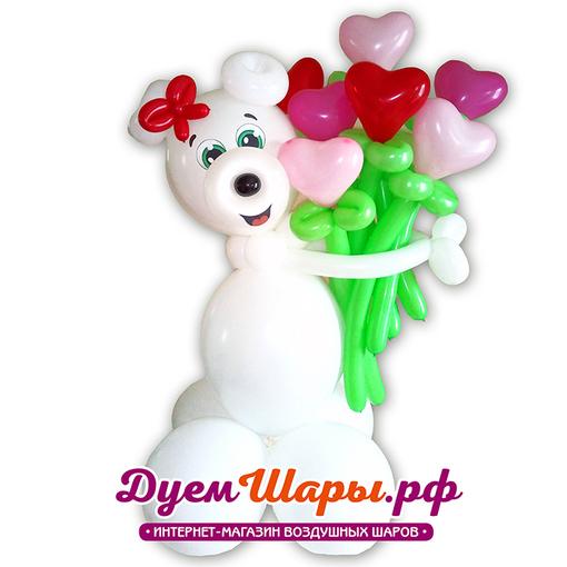 Фигура девочка-медведь с сердечками