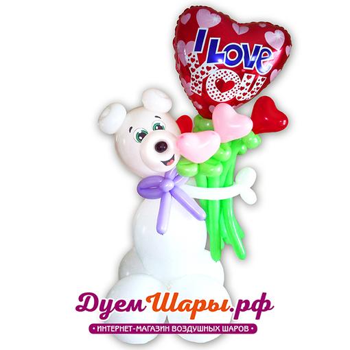 Фигура Медведь с сердечками